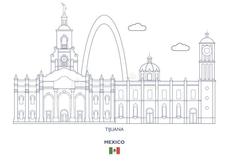 提华纳市地平线,墨西哥 库存例证