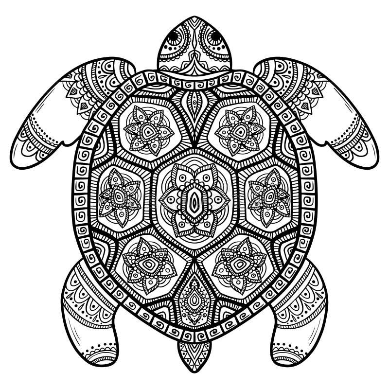 提取乌龟 被雕刻的乌龟 风格化幻想被仿造的乌龟 拉长的现有量 向量例证
