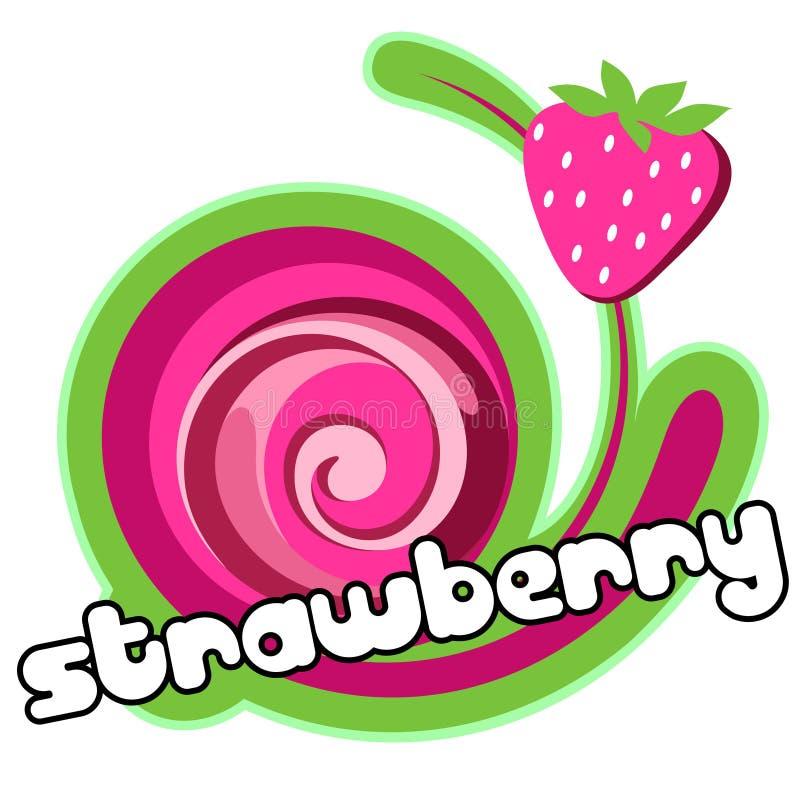 提取乳脂冰草莓 库存例证