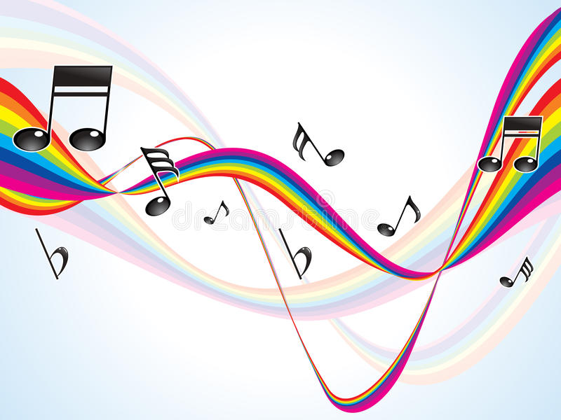 提取五颜六色的彩虹音乐通知 库存例证