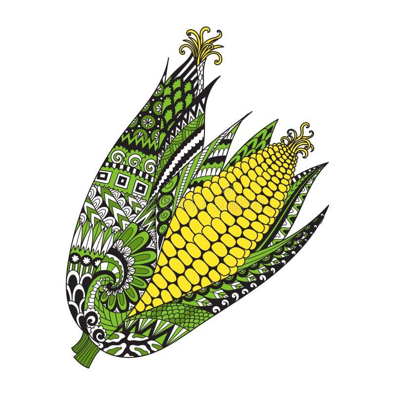 提取印刷品的两个玉米在材料、成人彩图、上色页、板刻、商标、纹身花刺和其他设计元素 传染媒介i 免版税库存照片