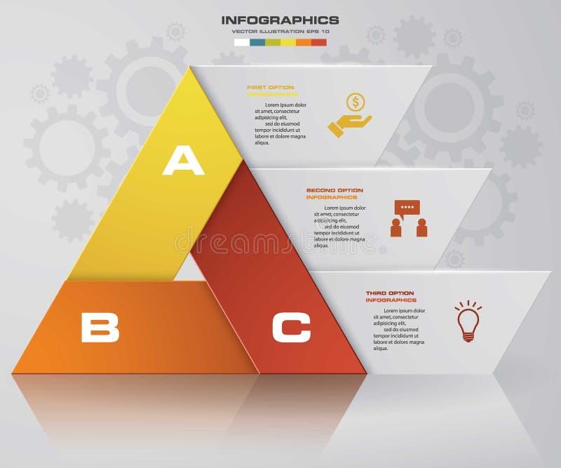 提取在三角形状的3步图与干净的横幅模板 向量 EPS10 皇族释放例证