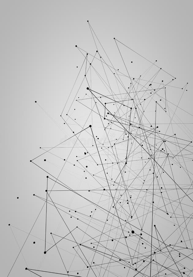 提取在空间背景,多角形线创造性的设计的被连接的小点通讯网络 图库摄影