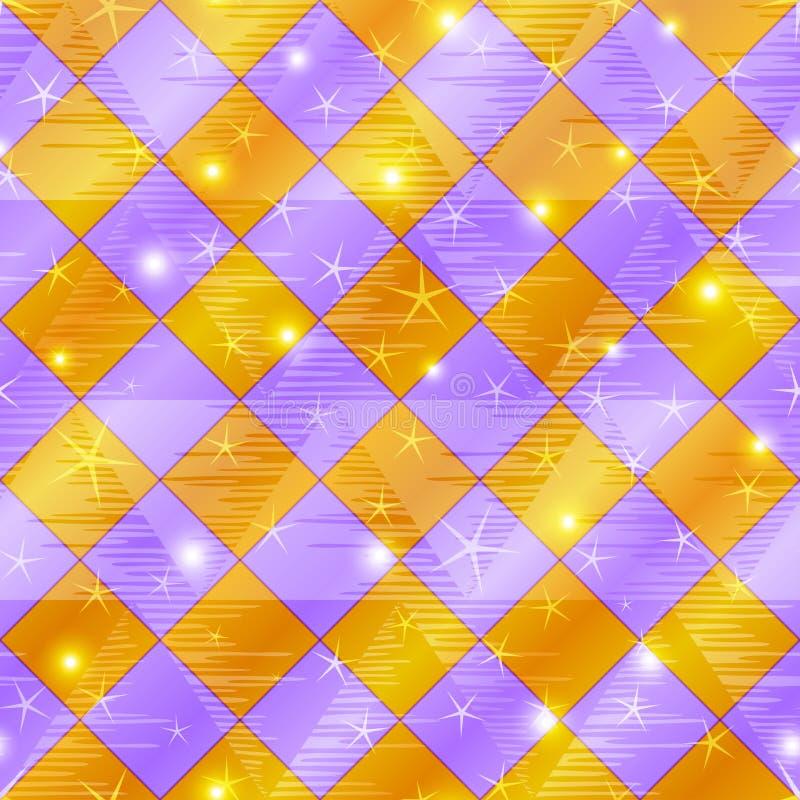 提取无缝金淡紫色的格子花呢披肩 向量例证