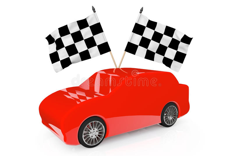提取有赛跑的旗子红色汽车 免版税库存图片