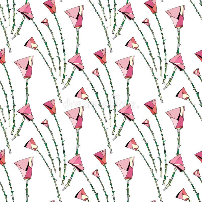 提取玫瑰样式 背景花卉无缝 风格化花为纺织品设计,包裹,墙纸,织品 向量例证