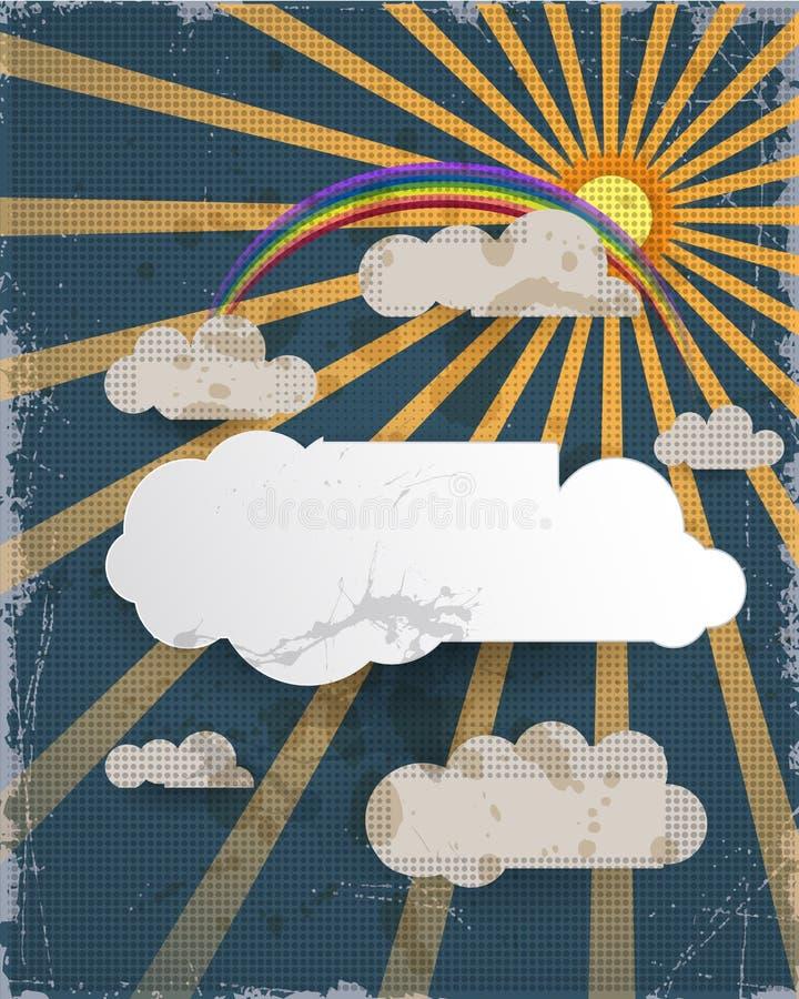 提取背景剪切纸张向量 蓝天背景和空白的云彩设计与地方的元素您的文本的 难看的东西纸织地不很细背景 皇族释放例证