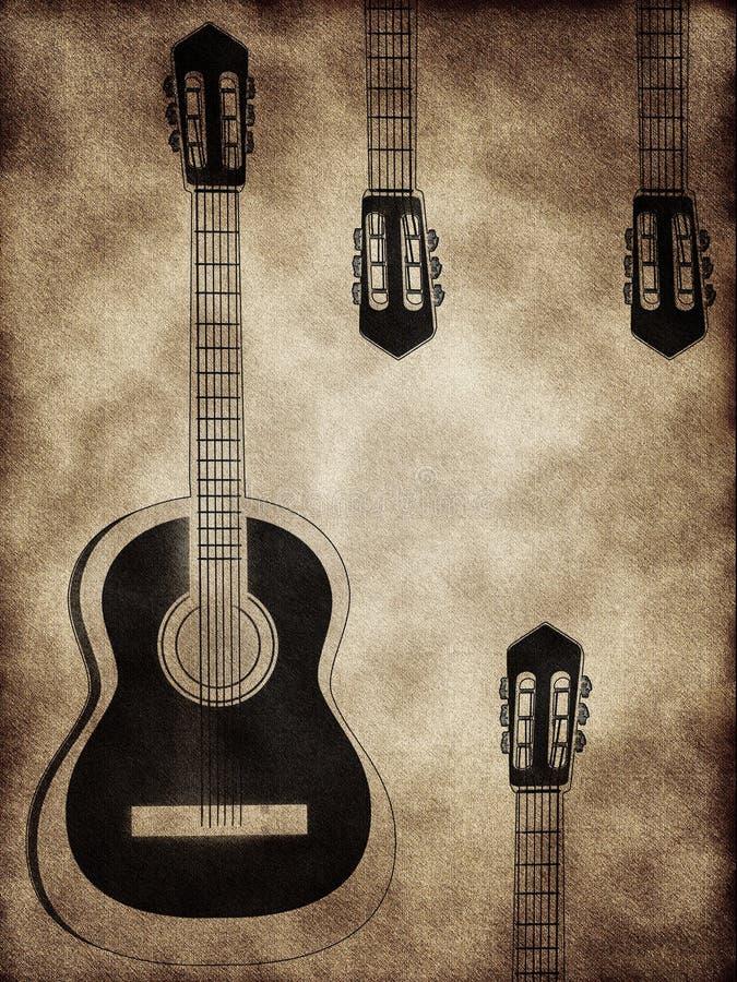 提取背景吉他 库存例证
