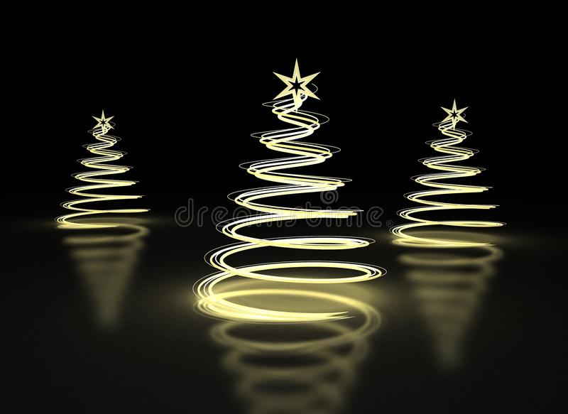 提取背景圣诞节黑暗的金黄结构树 向量例证