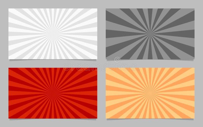 提取色的光芒爆炸卡片背景模板集合 向量例证