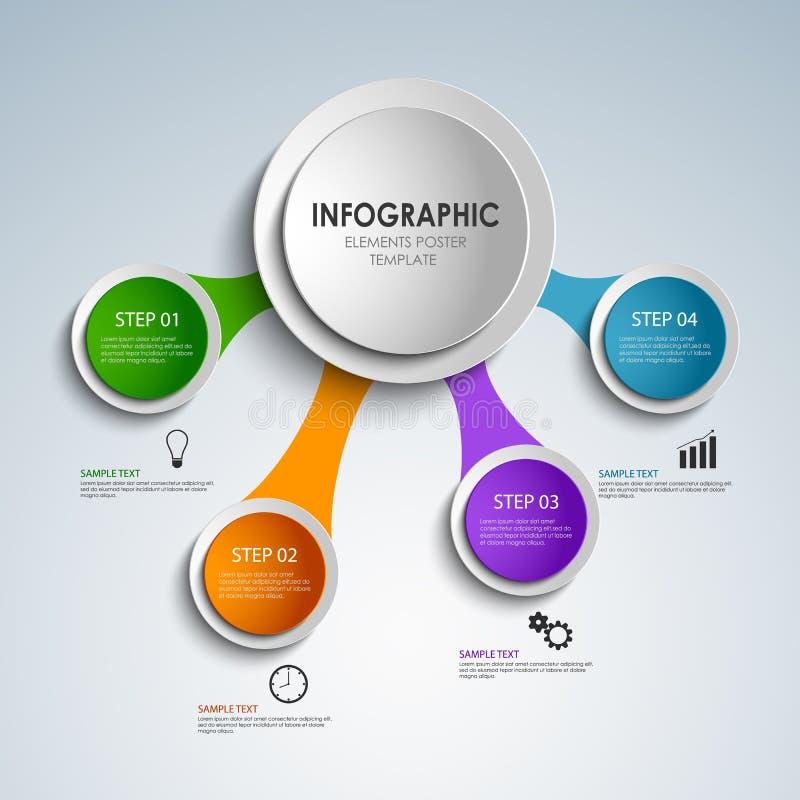提取色的回合信息图表元素海报模板 库存例证