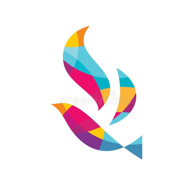 提取色的鸟-导航商标模板概念例证 飞过创造性的标志 鸠标志 正面设计元素 皇族释放例证