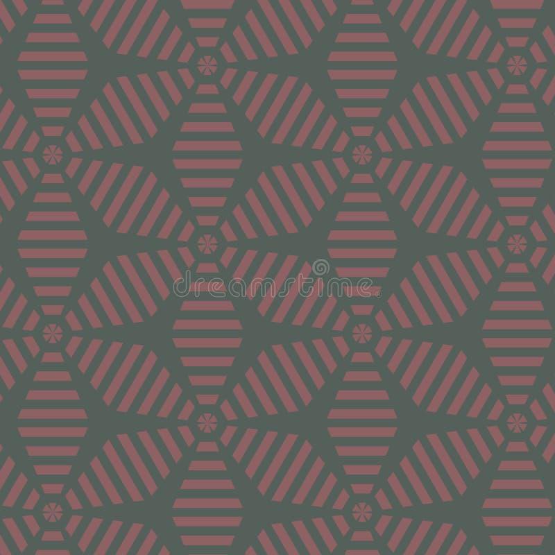 提取花卉模式 由条纹叶子装饰品的几何样式 现代的图表 皇族释放例证