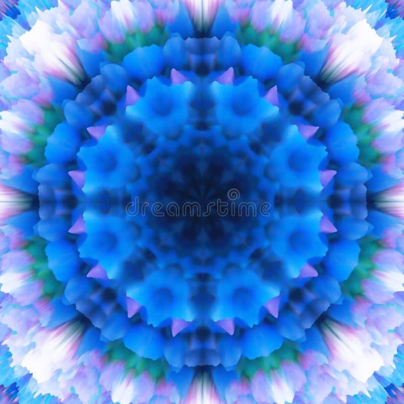 提取花卉背景 幻想雪花样式 美好的万花筒纹理 在蓝色口气的装饰坛场装饰品 向量例证