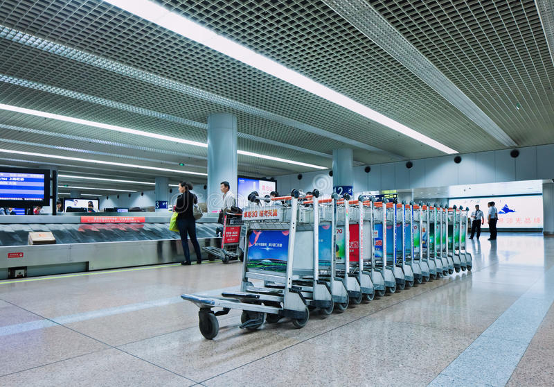 提取行李区北京首都国际机场 库存照片