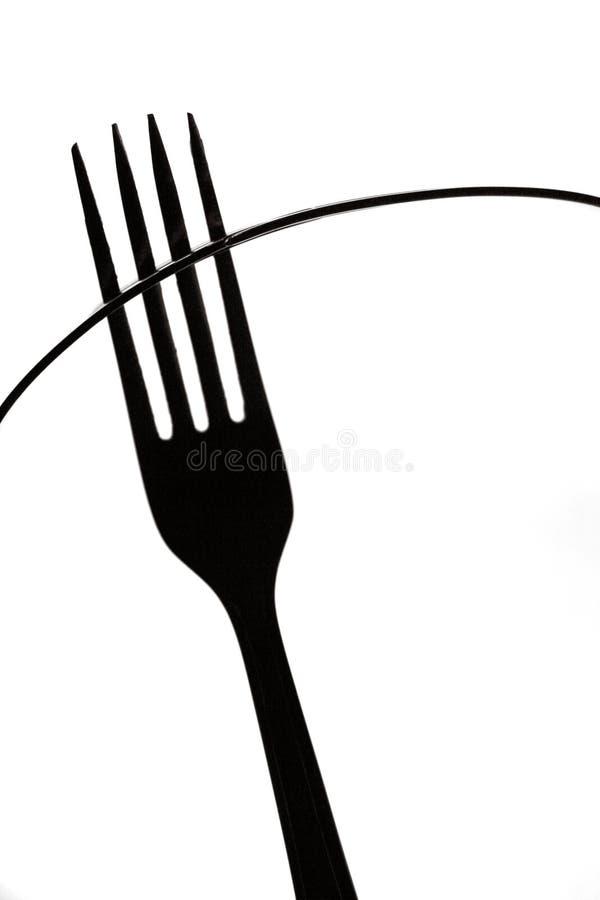 提取非叉子,黑白厨房艺术比喻剪影  免版税库存图片
