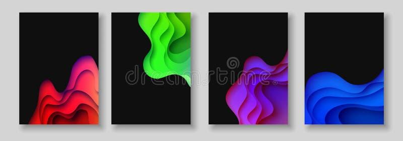 A4提取颜色3d纸艺术例证集合 对比颜色 导航横幅的设计版面,介绍,飞行物 皇族释放例证