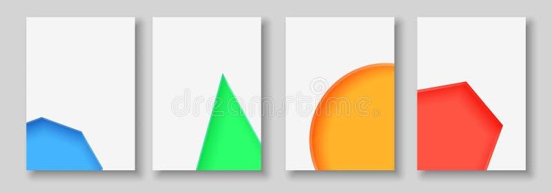 A4提取颜色3d纸艺术例证集合 对比颜色 导航横幅的设计版面,介绍,飞行物 库存例证