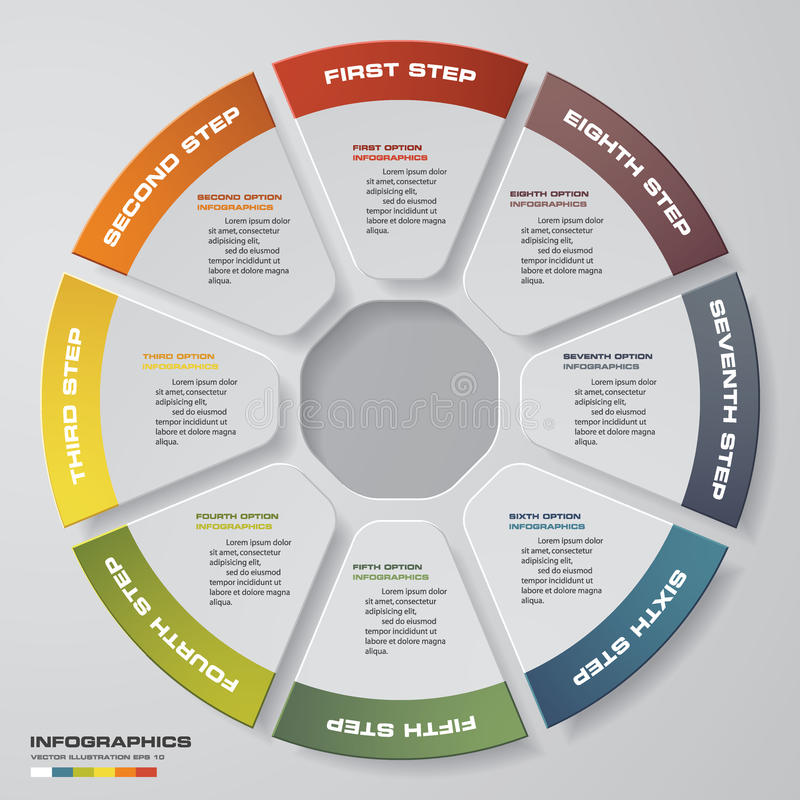 提取8个步现代圆形统计图表infographics元素 ช 皇族释放例证