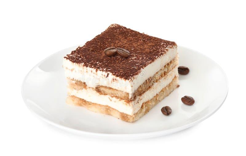 提拉米苏蛋糕板材在白色的 免版税库存照片
