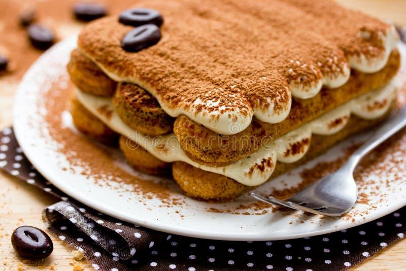 提拉米苏蛋糕特写镜头 库存图片