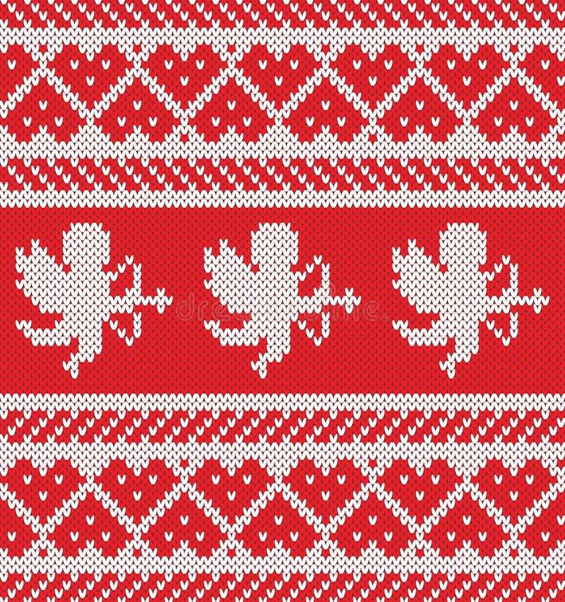 提花织物心脏,丘比特剪影 无缝编织的模式 免版税图库摄影