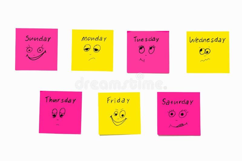 提醒星期的笔记贴纸 滑稽的笔记激动被绘的,反射星期 星期一,星期二 免版税图库摄影