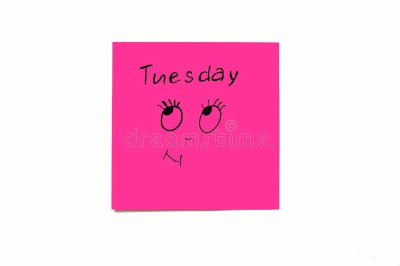 提醒星期的笔记贴纸 滑稽的笔记激动被绘的,反射星期 星期一,星期二 库存图片