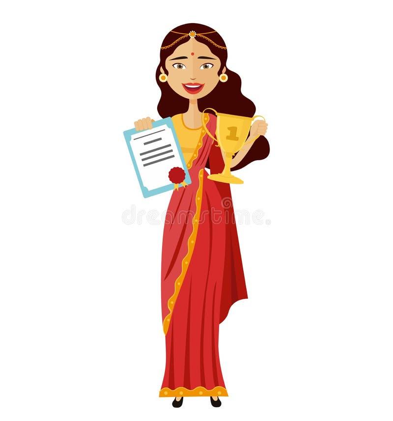 提高战利品证明字符传染媒介的微笑的印地安妇女隔绝在白色 库存例证
