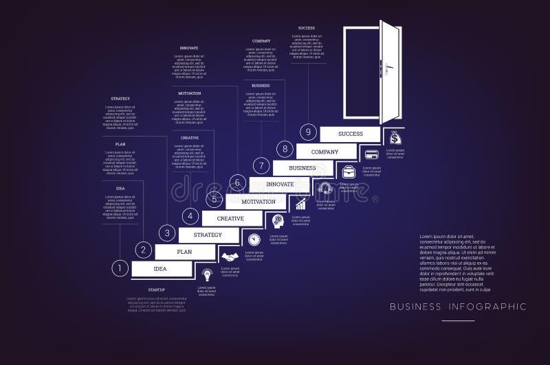 提高梯子和门道入口 概念例证或背景 事务Infographic 传染媒介单色模板9位置 向量例证