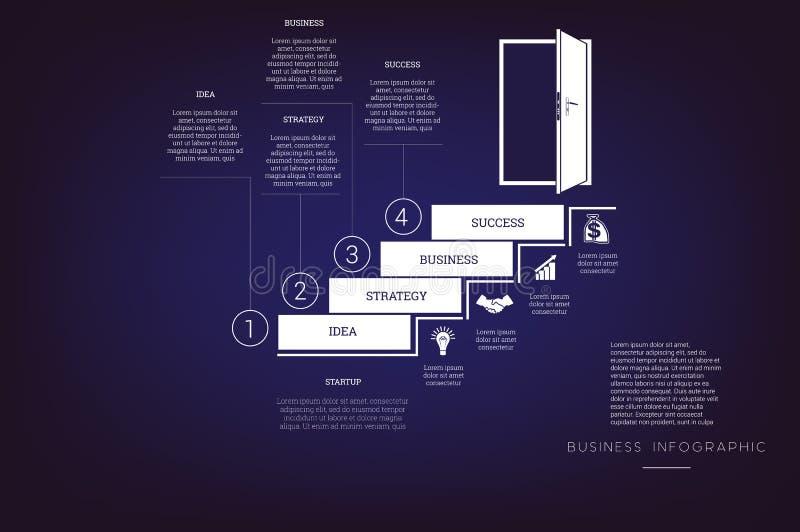 提高梯子和门道入口 概念例证或背景 事务Infographic 传染媒介单色模板4位置 库存例证