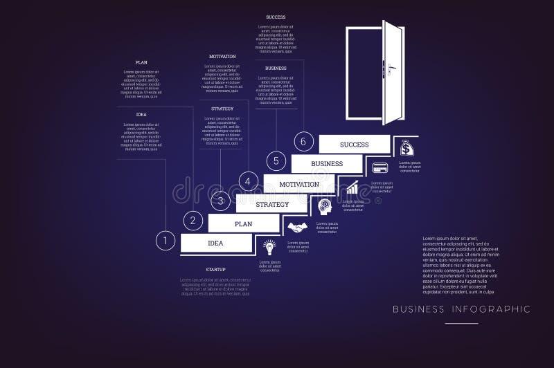 提高梯子和门道入口 概念例证或背景 事务Infographic 传染媒介单色模板6位置 皇族释放例证