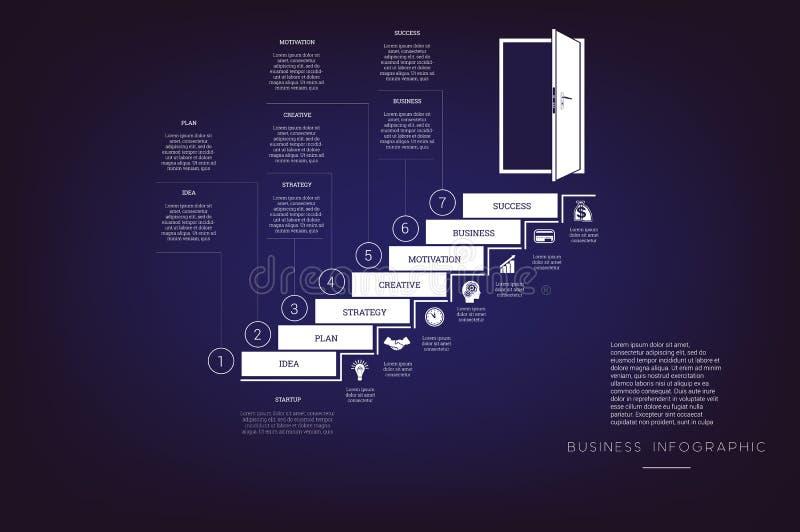 提高梯子和门道入口 概念例证或背景 事务Infographic 传染媒介单色模板7位置 向量例证