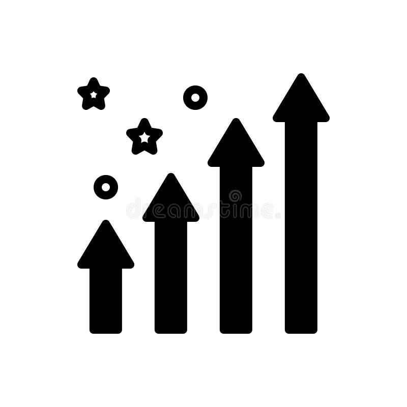 提高,增量和成长的黑坚实象 库存例证