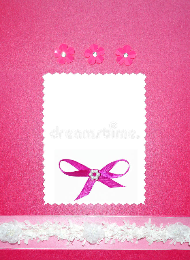 插件边框邀请纸张照片粉红色婚礼 库存图片