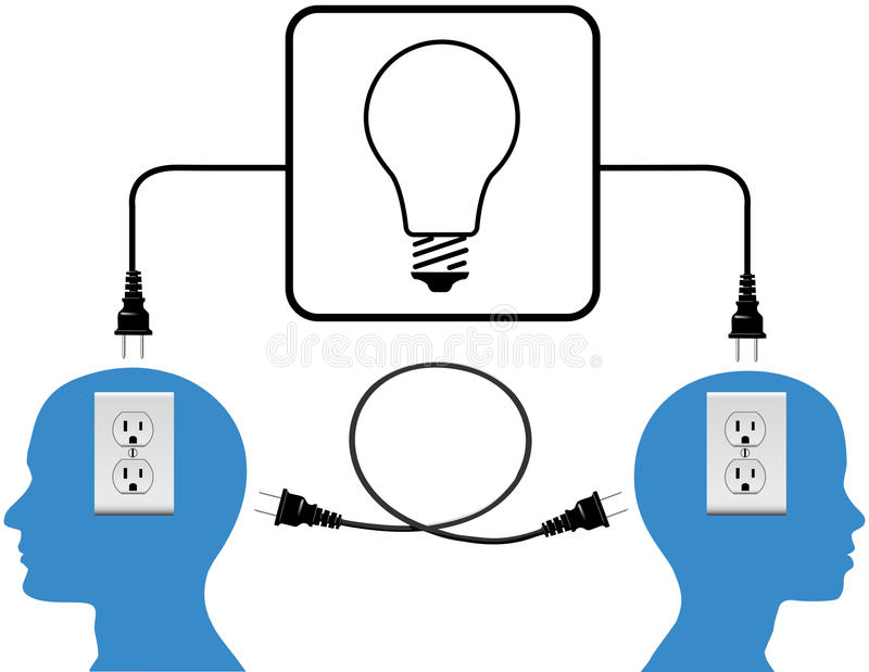 插入人加入循环光连接数 库存例证