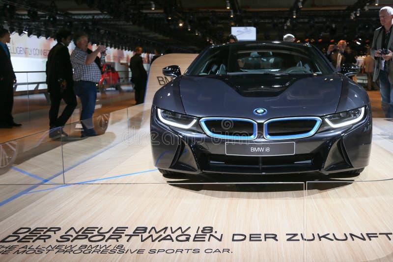 插入式杂种跑车BMW i8 免版税库存图片