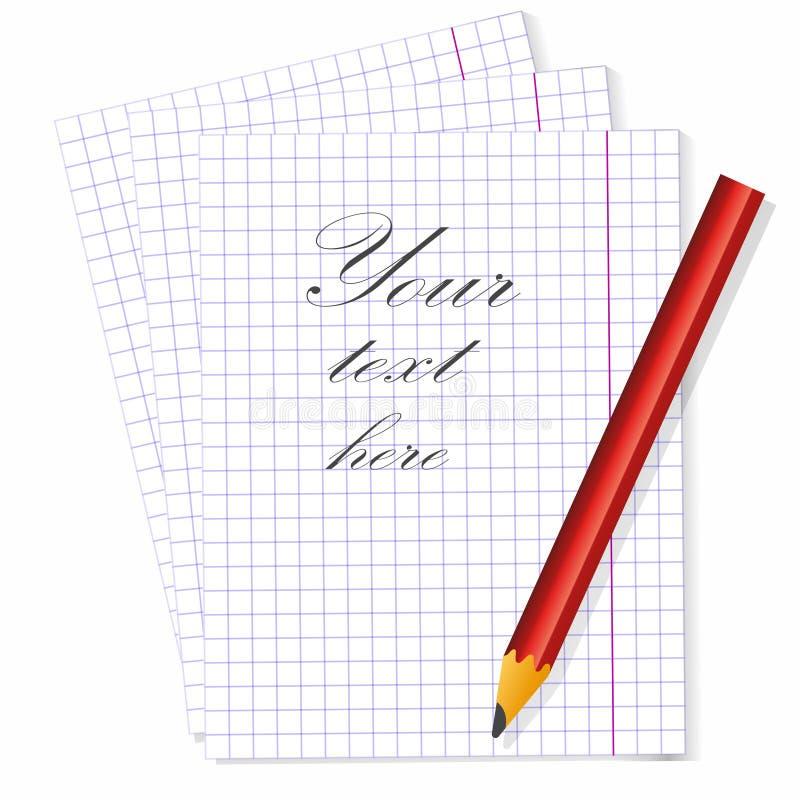 插入文本并且收到在笔记本的原始消息 向量例证