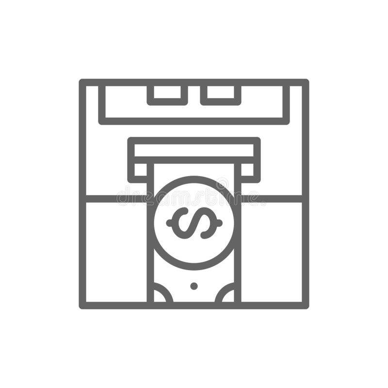 插入物信用卡,银行ATM,现金分送器,撤出金钱线象 向量例证