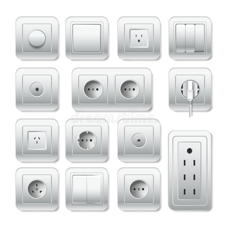 插口electirc出口、灯开关和缆绳入口导航3D象 向量例证