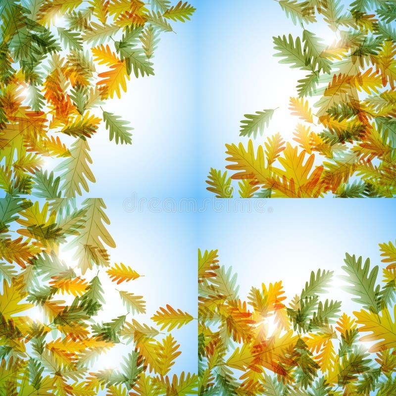 插图秋季主题。橡树叶。矢量背景。插图秋天依然活着。橡树叶。矢量背景 皇族释放例证
