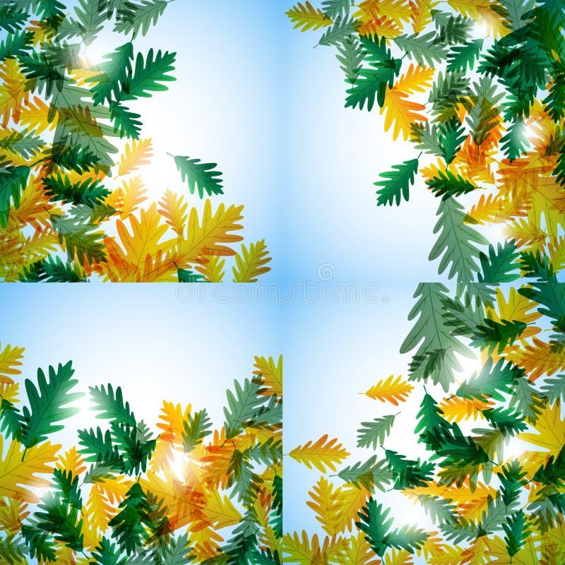 插图秋季主题。橡树叶。矢量背景。插图秋天依然活着。橡树叶。矢量背景 库存例证