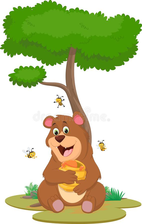 插图风趣的棕熊抱蜜 免版税库存图片