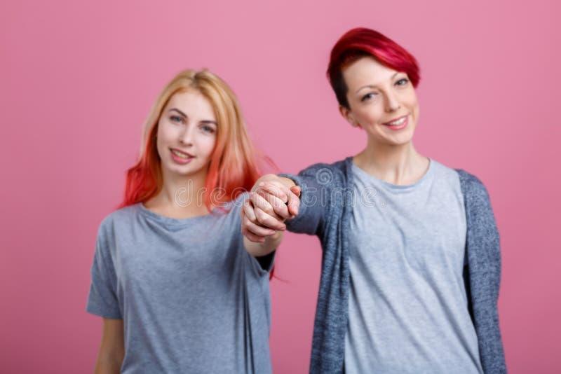 握两个女同性恋的女孩的手 在桃红色背景 库存图片
