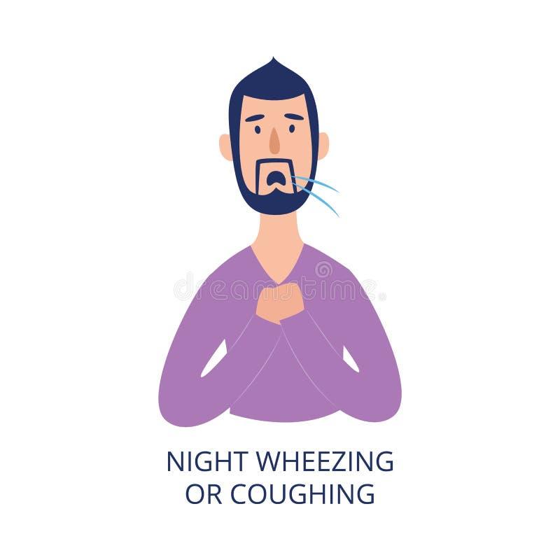 握他的胸口的人咳嗽和喘息在夜平的动画片样式 向量例证
