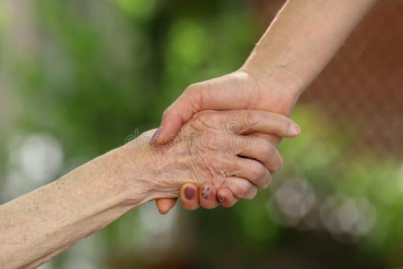 握前辈手的年轻照料者 帮手,年长概念的关心 免版税库存照片