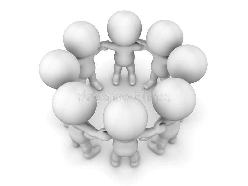 3D握在圈子配合概念的人手 皇族释放例证