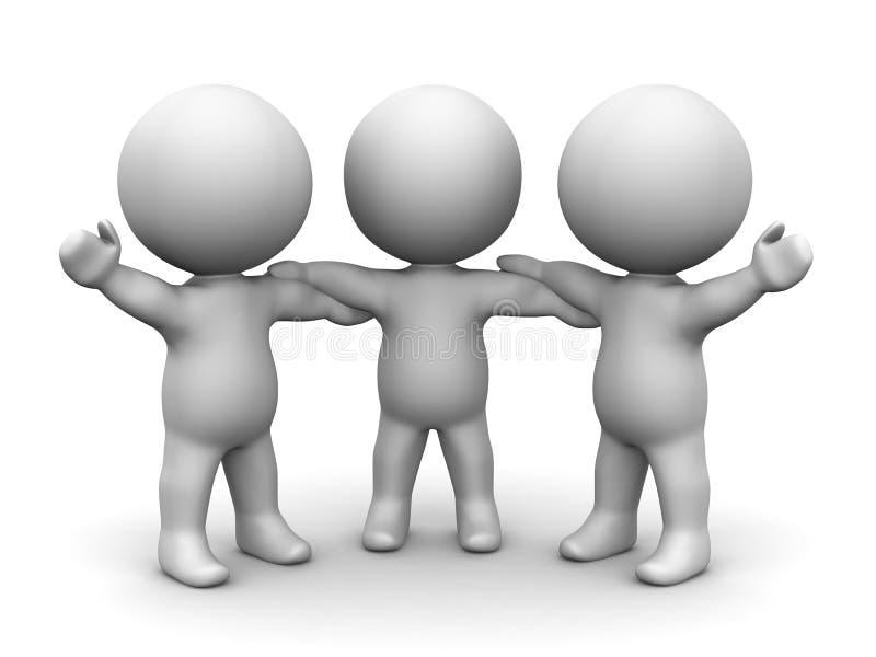 3D举行手配合概念的人 向量例证