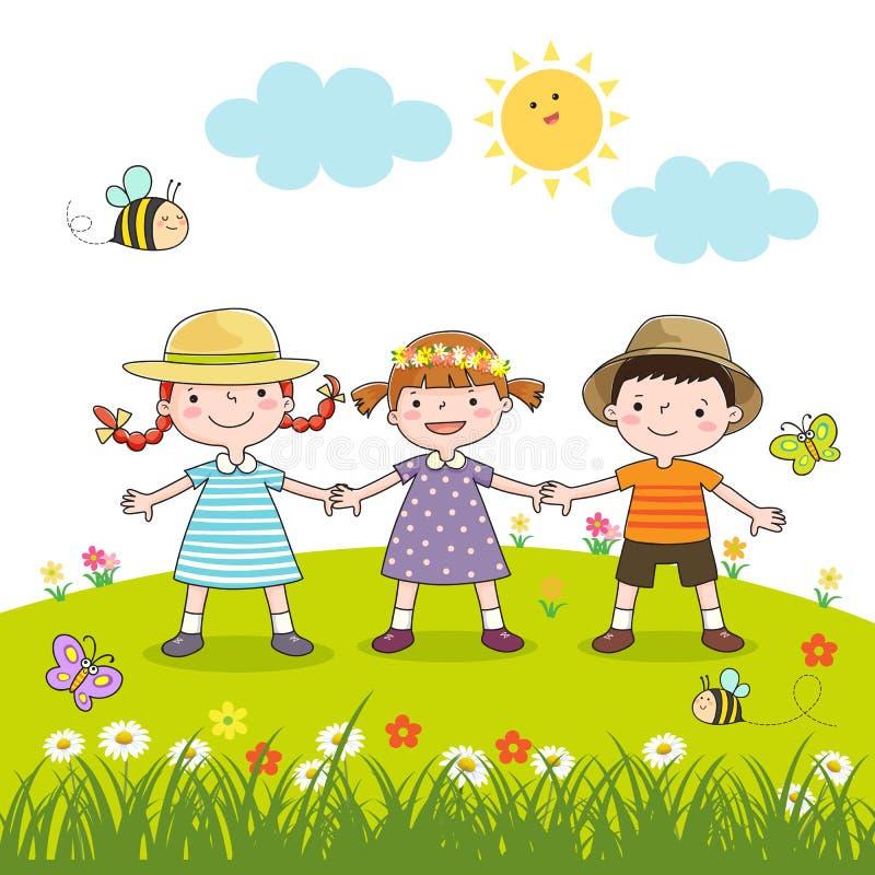 握在开花草甸的愉快的孩子手 向量例证