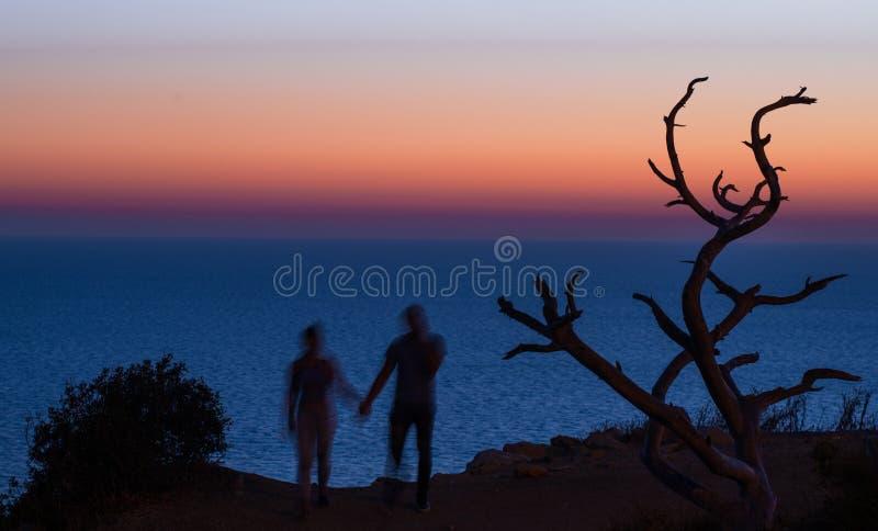 握在日落海背景的夫妇的被弄脏的剪影手 库存图片